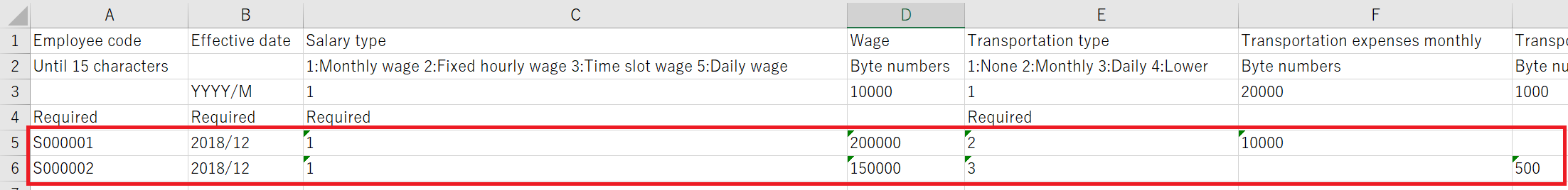 D-Help Center Import employee salary information